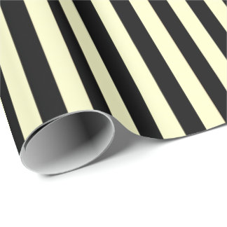 Classic Lemon Yellow Pastel Black Stripes Paris Wrapping Paper