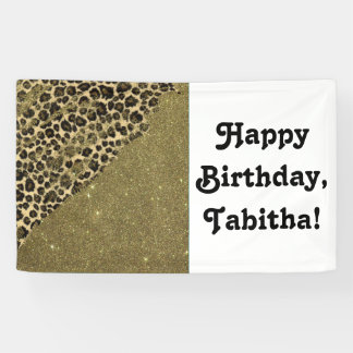 Classic Leopard Print Brushstrokes on Faux Glitter Banner