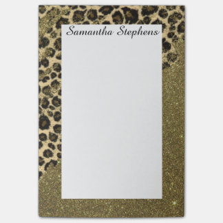 Classic Leopard Print Brushstrokes on Faux Glitter Post-it Notes
