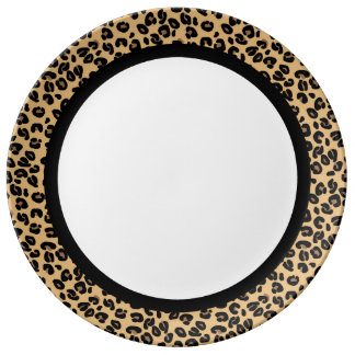 Classic Leopard with Black Band on White Porcelain Plate