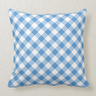 Classic Light Blue & White Diagonal Gingham Plaid Throw Pillow
