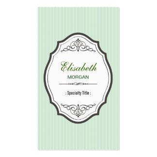 Classic Light Green Stripes Elegant Vintage Frame Business Card Template