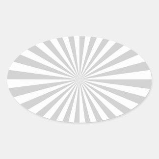 Classic Light Grey Burst Spinning Wheel Oval Sticker