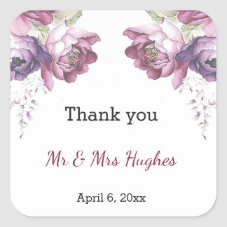 Classic lilac and pink wedding floral thank you square sticker
