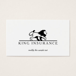 Classic Lion Logo Professional Black and White Business Card