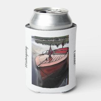 Classic mahogany boat print on can cooler