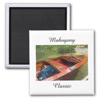 Classic mahogany boat print on magnet