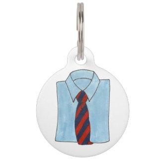 Classic Menswear Blue Shirt Tie Fashion Style Man Pet Name Tag