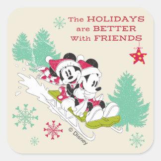 Classic Mickey and Minnie | Snow Sledding Square Sticker