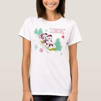 Classic Mickey and Minnie | Snow Sledding T-Shirt