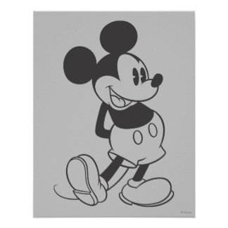 Classic Mickey   Black and White Poster