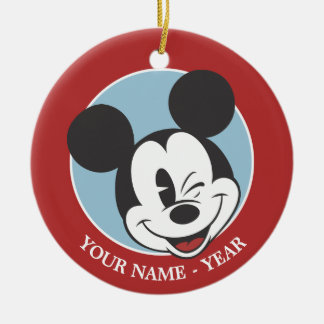 Classic Mickey | Head Tilt Wink Add Your Name Ceramic Ornament