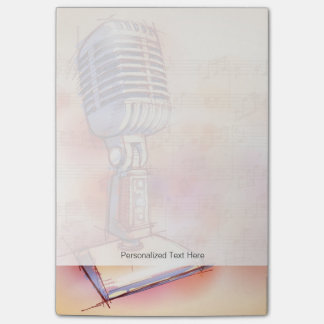 Classic Microphone, watercolor background Post-it Notes