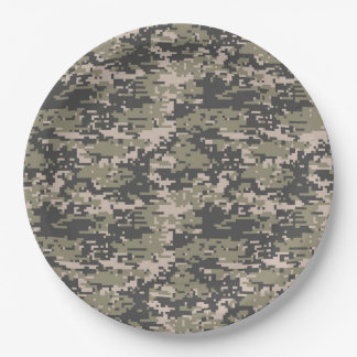 Classic Military Digital Camo Pattern 9 Inch Paper Plate
