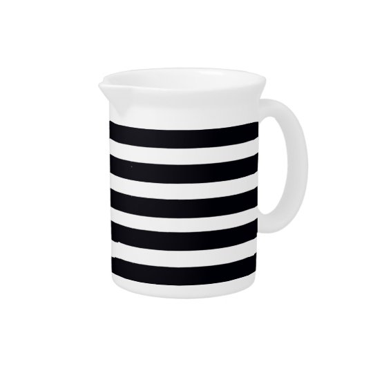 Classic modern Black and White Stripes Pitcher