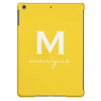 Classic Monogram and Initial Yellow and White iPad Air Covers