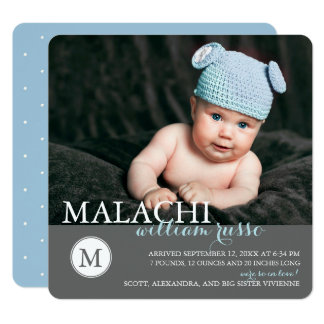 Classic Monogram Boy Birth Announcement / Blue