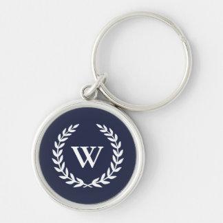 Classic Monogram Elegant Blue Premium Keychain