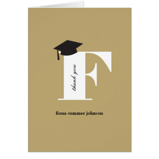 Classic Monogram F Graduation Photo Thank You Card