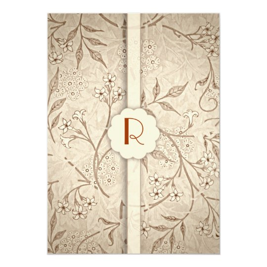 classic monogram floral luxury wedding invitations