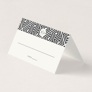 Classic Monogram Geometric Greek Key Wedding Place Card