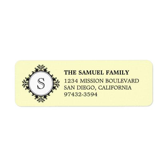 Classic monogram letter cream return address return address label