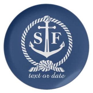 Classic Monogram Nautical Blue Anchor Beach Boat Plates