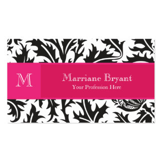 Classic Monogram Pink Damask Pack Of Standard Business Cards