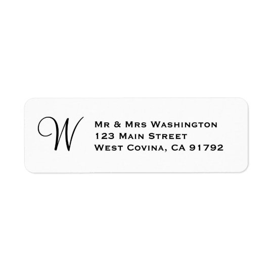 Classic Monogram Return Address Label Template