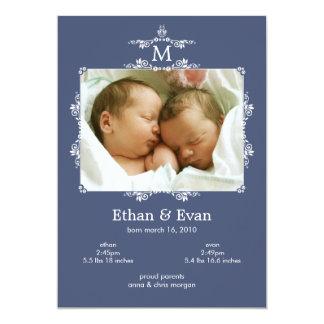 Classic Monogram Twins Photo Birth Announcement