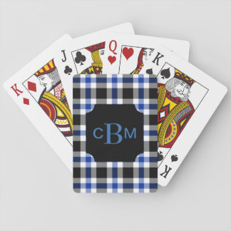 Classic Monogrammed Blue and Black Plaid Playing Cards