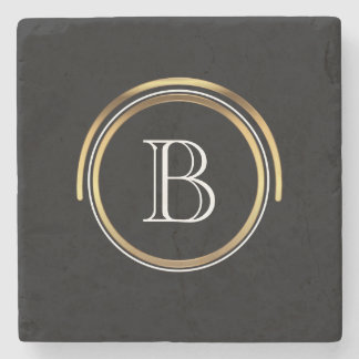 Classic Monogrammed Initial | Elegant Black Gold Stone Coaster