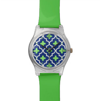 Classic Moroccan Tile, Cobalt Blue and Lime Watch