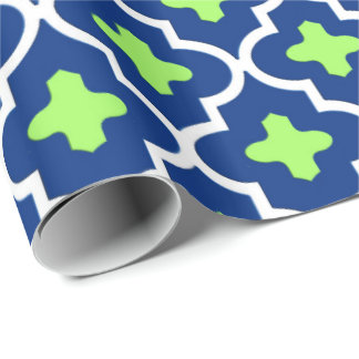 Classic Moroccan Tile, Cobalt Blue and Lime Wrapping Paper