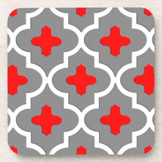 Classic Moroccan Tile, Gray / Grey and Red Coasters