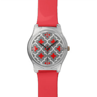 Classic Moroccan Tile, Gray / Grey and Red Wristwatch