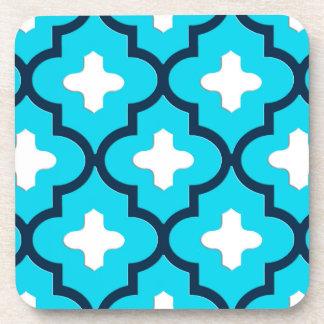 Classic Moroccan Tile, Indigo and Sky Blue Beverage Coasters