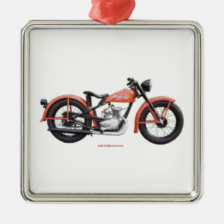 Classic Motorbike 125 HD_Texturized Silver-Colored Square Decoration
