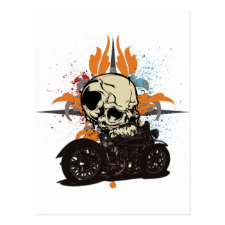 Classic Motorcycle Skull With Paint Splashes Post Cards