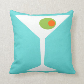 Classic Movie Martini Throw Pillow (Turquoise)