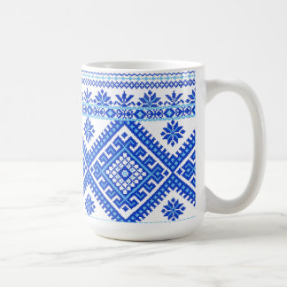Classic Mug Ukrainian Blue on Blue Cross Stitch