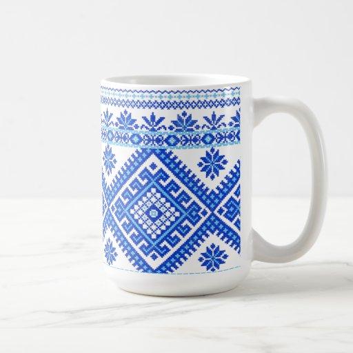 Classic Mug Ukrainian Blue on Blue Cross Stitch