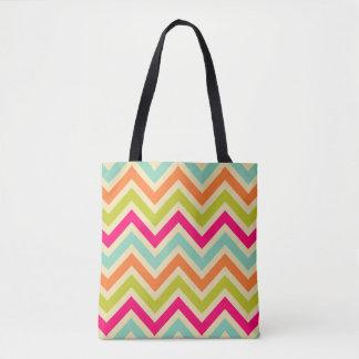 Classic Multicolor Chevron Patterned Tote Bag