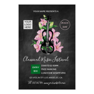 Classic Music Festival Chalkboard Poster