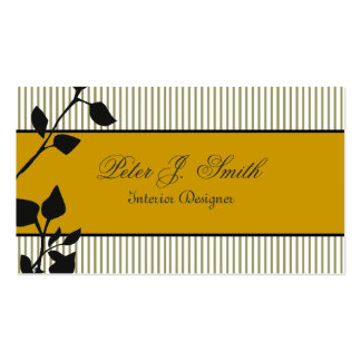 Classic Nature Pinstripe Floral Business Cards