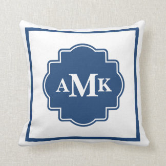 Classic Navy Blue and White Monogram Pillow