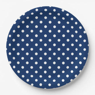 Classic Navy Blue and White Polka Dot Paper Plate