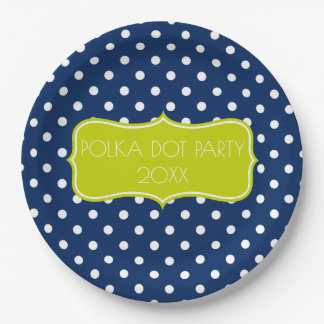 Classic Navy Blue and White Polka Dot Personalized 9 Inch Paper Plate