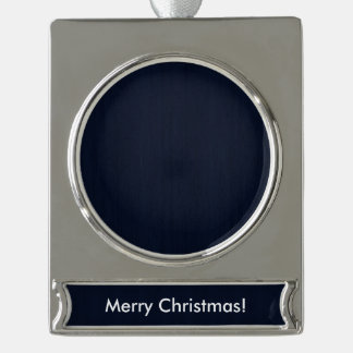 Classic Navy Blue Bamboo Wood Grain Look Silver Plated Banner Ornament