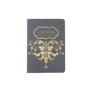 CLASSIC NAVY BLUE GOLD LEATHER DAMASK MONOGRAM PASSPORT HOLDER